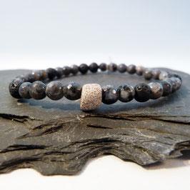 Achat mit Lava und ringförmiger Perle