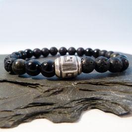 Tibet-Silberperle mit Obsidian und Lava -1