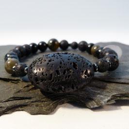 Lava mit Obsidian und Hämatit - 1