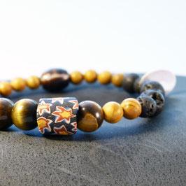 Mosaikglas mit Tigerauge, Jaspis und Lava
