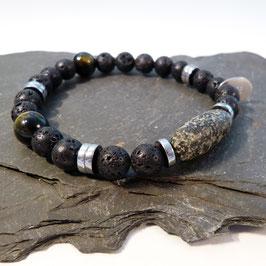 Afrikanische Granitperle mit Hämatit, Lava und Tigerauge