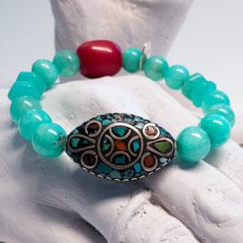 Hemimorphit-Armband mit Tibet-Mosaik-Emaille-Silber und Glasolive