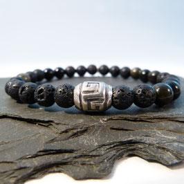 Tibet-Silberperle mit Obsidian und Lava - 2