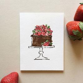 chocolate strawberry cake - note card