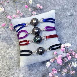 Tahiti Perle Baroque Armband, Nylonkordel, 925 Silber Elemente