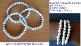 bracelet en howlite blanche , perle de 6 mm