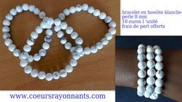 bracelet en howlite blanche , perle de 8 mm