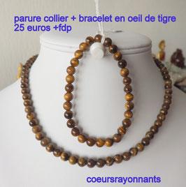 parure collier + bracelet en oeil de tigre