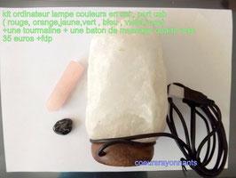 kit lampe ordinateur en sel  port u s b ( couleurs :rouge , jaune , orange, vert , bleu ,violet , rose ) + une tourmaline + un baton de massage en quartz rose 1