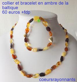 collier et bracelet multicolore en ambre de la baltique