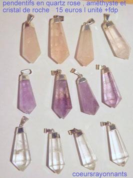 pendentifs pointes en quartz rose , améthyste et cristal de roche
