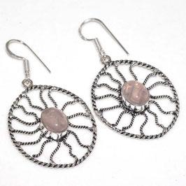 boucles d'oreilles en quartz rose, plaqué argent 925