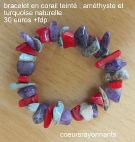 bracelet en corail teinté , améthyste et turquoise naturelle