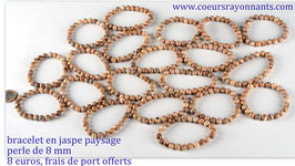 bracelet en jaspe paysage , perle 8 mm