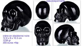 crâne en obsidienne noire