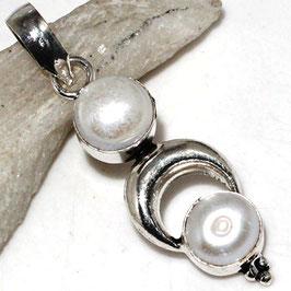 pendentif en perle et plaqué argent 925