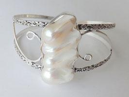 bracelet ajustable en plaqué argent 925 et perle biwa