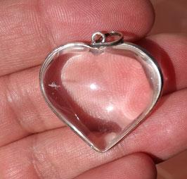 pendentif coeur en cristal de roche et argent 925