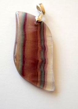 pendentif en fluorite multicolore et argent rhodié 925