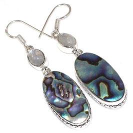 boucles d'oreilles en abalone et pierre de lune bleutée, plaqué argent 925
