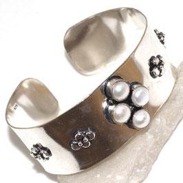 bracelet ajustable en plaqué argent 925 et perles