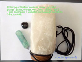 kit lampe ordinateur en sel  port u s b ( couleurs :rouge , jaune , orange, vert , bleu ,violet , rose ) + une tourmaline + un baton de massage en fluorite 1