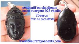 pendentif tête de bouddha en obsidienne noire et argent 925 rhodié