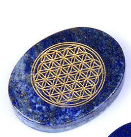 galet plat fleur de vie en lapis-lazuli