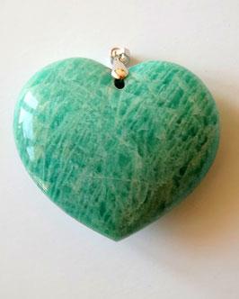 pendentif coeur en amazonite et argent rhodié 925