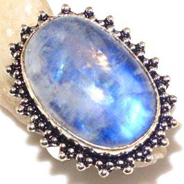 bague en pierre de lune bleutée et plaqué argent 925