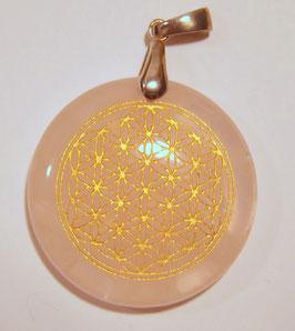 pendentif fleur de vie en quartz rose et argent 925 rhodié