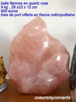 flamme en quartz rose de 9 kg