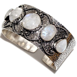 bracelet ajustable en labradorite blanche et plaqué argent 925