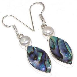 boucles d'oreilles en perle et abalone,plaqué argent 925