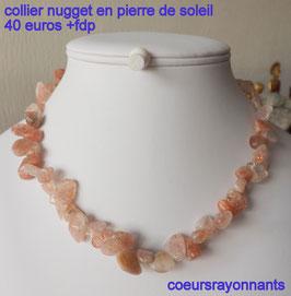 collier nugget en pierre de soleil ( trés belle qualité )