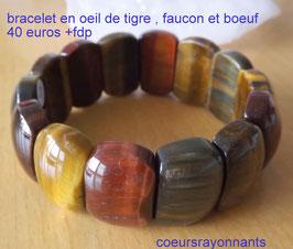 bracelet en oeil de tigre , faucon et boeuf
