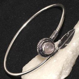 bracelet en plaqué argent 925 et quartz rose