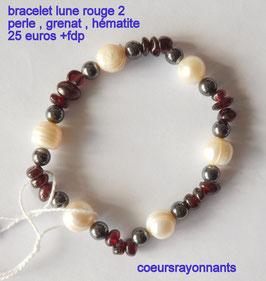 bracelet lune rouge 2 ( perle , grenat , hématite )