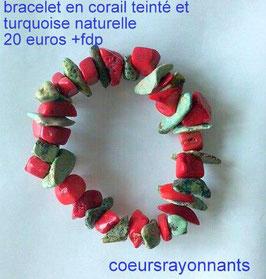 bracelet en corail teinté et turquoise naturelle