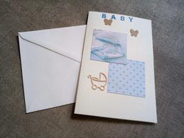 Babykarte blau verschiedene Motive