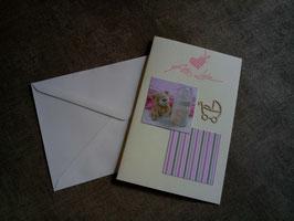 Babykarte rosa verschiedene Motive