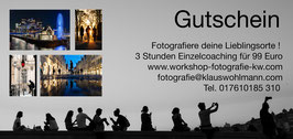 Wertgutschein für 3 Stunden Einzelcoaching / Fotografiere deinen Liegblingsort in der Stadt deiner Wahl