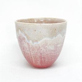 Tasse Altrosa, Rand transparent Craquelée mit Weiß