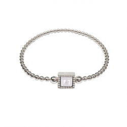 K'aschka zilveren flex armband wit