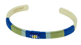 Armband met zijden draad, blauw, en kleine Miyouki beads, verguld messing