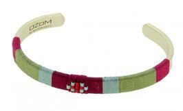 Armband met zijden draad, rood, en kleine Miyouki beads, verguld messing