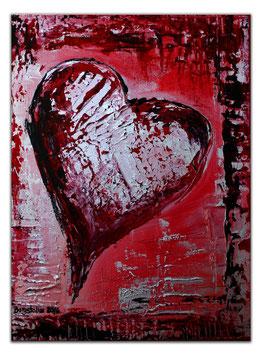 163 Herzbild rot silber Strukturbild abstrakt 30x40