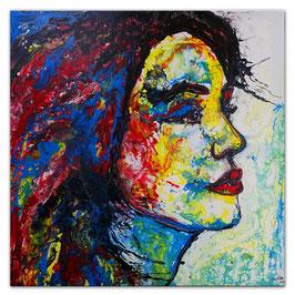 Wo bist Du Wandbild Porträt abstrakte Kunst 100x100