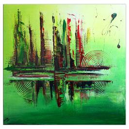 Metropolis abstraktes Bild grün Moderne 80x80