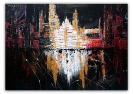 Monument  70x100 schwarz gold abstraktes Gemälde